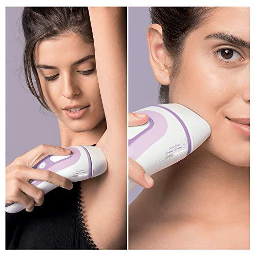Braun Silk-Expert Pro 3 PL3011 IPL Haarentfernungsgerät, für dauerhafte Haarentfernung, für Körper und Gesicht, 300.000 Lichtimpulse, inkl. Premium-Aufbewahrungsbeutel und Venus Rasierer, weiß/flieder
