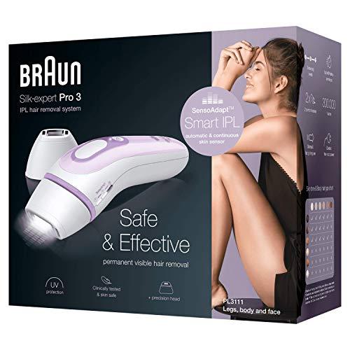 Braun Silk-Expert Pro 3 PL3111 IPL Haarentfernungsgerät für dauerhaft sichtbare Haarentfernung, für Körper und Gesicht, Präzisionsaufsatz für empfindlichere Bereiche, weiß/flieder